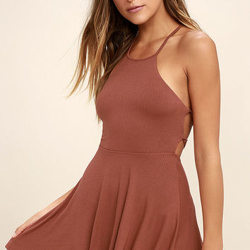 Tied Together Rusty Rose Lace-Up Dress