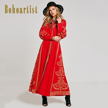 Boho Chic Dress 2017 Autumn Jacquard Fabric V-neck Chic Floral Embroidery Long Sleeve Chic Embroidery Tassel Long Women Dresses