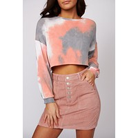 On The List Tie Dye Crop Top (Peach/Grey)