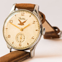 Antique men's wristwatch Pobeda Seagull very rare wrist watch brown leather watch