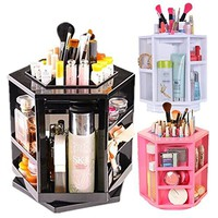 XL Spinning Makeup Organizer Acrylic Cosmetics Tower (White)
