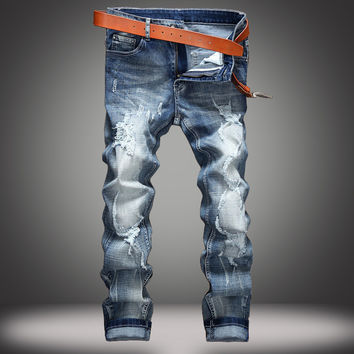 Men Ripped Holes Summer Slim Stretch Denim Jeans [10366811011]