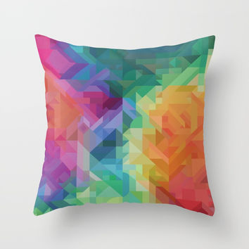 RAINBOW MULTI COLOR GEOMETRIC PRINT Throw Pillow by AEJ Design