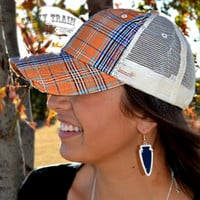 Precious Plaid Cap in Orange