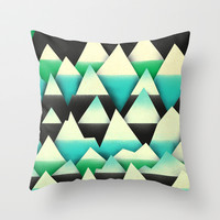 Minty Mountains Throw Pillow by Amelia Senville