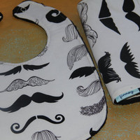 Baby Bib and Burp cloth Mustache baby boy or girl burp by Finney