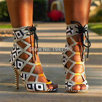 2016 Brand Grid Peep Toe High Heels Sandals Women Boots Lace Up