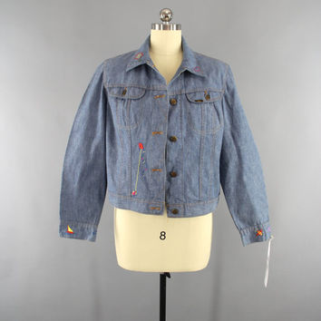 Vintage 1970s Denim Jacket / 70s Embroidered Jean Jacket / 1960s Hippie Jacket / 60s Bohemian Coat / LEE Jean Jacket / Size Medium M