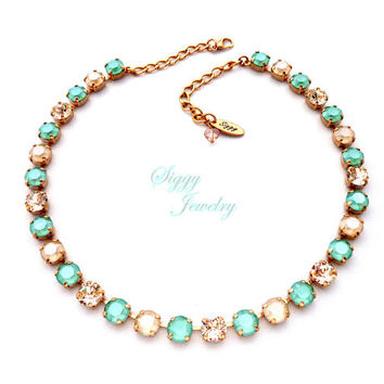 Swarovski® Crystal Necklace, 8mm Mint Green, Ivory Cream, Silk, Bridesmaids Gift, Wedding, Rose Gold Or Assorted Finishes, Mint Macaron
