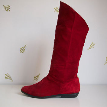 vintage 90s red boots / size 9 / suede leather / slouch / flats / boho