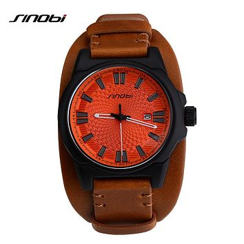 Sport Wristwatch Males Leather Watchband Watches Causal Japan Quartz Clock Men Military Watch
