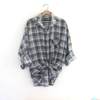 Vintage gray and tan Plaid Flannel / Grunge Shirt / cotton button up shirt / 2XL