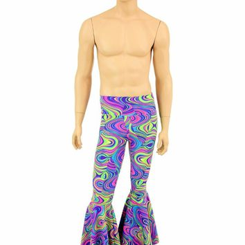 Mens Glow Worm Bell Bottom Leggings