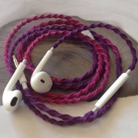 Handmade Wrapped Tangle-Free Earbuds | Playful Fuchsia| Genuine iPhone EarPods