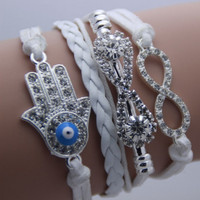Bracelet White  Hamsa Evil Eye Infinite Love Bracelet