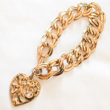 7804866369bb71 Monet Gold Chain Bracelet, Charm Fob, Heart, Victorian Revival,. Vintage  Jewelry