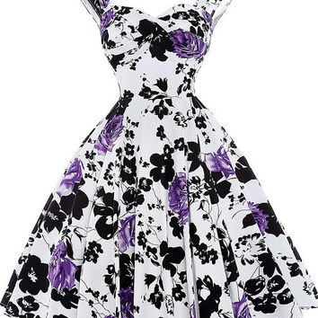 Belle Poque Women Summer Vintage 50s Dresses Audrey Hepburn Elegant Floral Vestidos Plus Size robe Sexy Pin up Rockabilly Dress