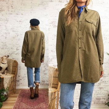 Vintage 1950's Deadstock MILITARY U.S Army Wool Button Down Olive Green Field Shirt || Vietnam War || Mens Size Medium