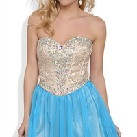 Dress With Sequin Corset Bodice and Full Mesh Skirt