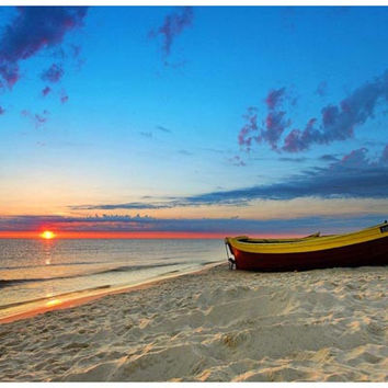Tropical Beach Boat and Sunset Poster 11x17