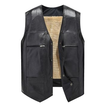 Leather Vest Men Thick Solid Tank Tops Men Motorcycle Hip Hop Waistcoat Male Faux Leather Punk Spring Sleeveless Jacket