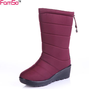 FAMSO 2017 Shoes Women Boots black red Mid-Calf Riding Boots Russia Winter Waterproof Keep Warm Snow Boots Down Shoes SBT3539