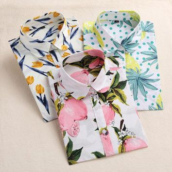 ONETOW Dioufond Lemon Floral Print Summer Blouse Women Shirt Long Sleeve Cotton Blouse Turn Down Collar Women Tops And Blouses Fashion