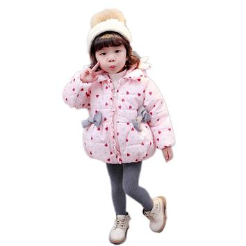 Infant Cute Thick Warm Snow Wear Outerwear Bow Winter Baby Clothing Girls Love Heart Jackets Girls Cotton Coat Toddler Clothes