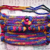 Rainbow Purse/Clutch, with Flower in Front, Crochet