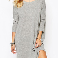 Grey Long Sleeve Back V Shape Cut Out Mini Dress