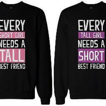Tall and Short Best Friend Matching Sweatshirts for Best Friends BFF Gift