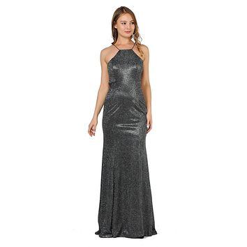 Black/Silver Halter Long Prom Dress Cut-Out Back with Slit