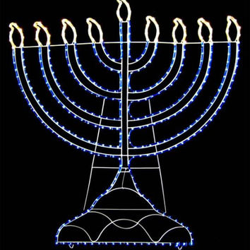 Rope Light Hanukkah Yard Art - Blue And Warm Clear Led Lights