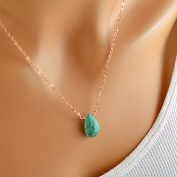 Chrysocolla Necklace, Rose Gold Jewelry, Turquoise Gemstone, Large Pendant, Fashion Accessory, Gift for Women, Free Shipping