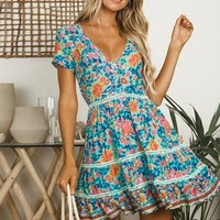 Print Floral Women Dress Button Hollow Out Feminino Short Sexy Bohemian Dresses