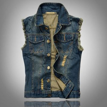 Men's Casual Cool Outwear Denim Vest Waistcoat Jacket Blue