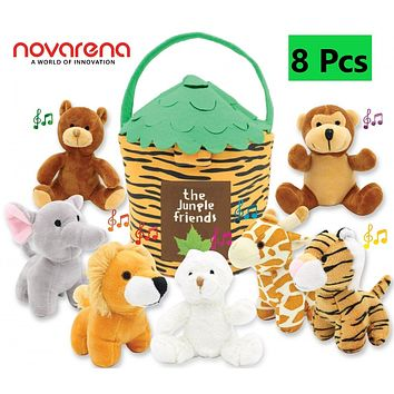 NOVARENA Jungle Friends Talking Plush Animals Set & Carrier for 1 Year Old & up Boy Girl Baby Realistic Sounding Stuffed Toys Babies Toddlers Children | Lion Elephant Giraffe Tiger Bear Monkey Rabbit