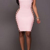 New Women Pink Plain Hollow-out Zipper Lace-up Band Collar Bodycon Mini Dress