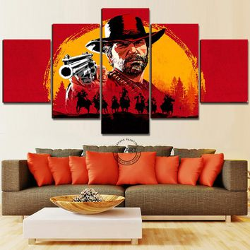 Top-Rated Canvas Painting Red Dead Redemption 2 Gutch's Gang Western Action Adventure Video Games Poster Wall Art Home Decor