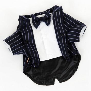 New 2015 Fashion Dog Clothes Pet Shirt Striped Suit Jacket Coat Wedding Tuxedo Suit With Bow Tie Clothing For Small Dogs Costume