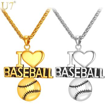 "U7 Heart Necklace For Baseball Fan Stainless Jewelry Gold Color ""I Love Baseball"" Charm Pendant For Men /Women Gift P848"