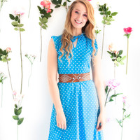 Dotty, French Vintage, 1970s Electric Blue Polka Dot Midi Dress, with Ruffle Sleeves, from Paris