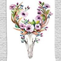 Deer Skull Flower Horns Wall Fabric Tapestry