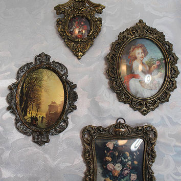 Miniature Framed Art Collection - Brass Frames - Convex Glass - Small Art - Ornate Wall Grouping