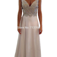 Menoqo A Line Chiffon Beading Prom Dresses 2017 Long Evening Gowns for Women Formal White