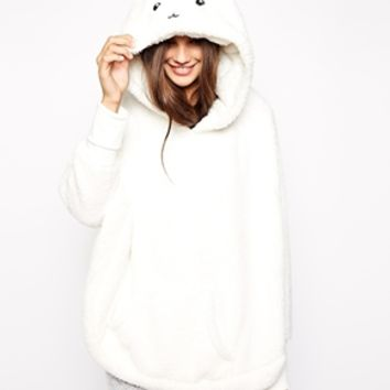 Oysho Bunny Ear Fleece Lounge Top