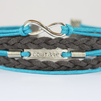 BRAVERY~ Courage Bracelet, Infinity Bracelet, Teal Grey Multi Strand Bracelet, Encouragement Gift, Awareness Ribbon Teal, ilovecheesygrits