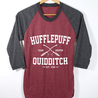 Hufflepuff Quidditch Keeper Shirt Harry Potter Shirts O-Neck Baseball Raglan Sleeves Unisex Adult Size S M L