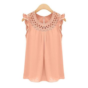 Hollow out Sleeveless Blouse