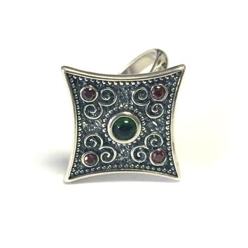 Sterling Silver Byzantine Style Rhombus Ring